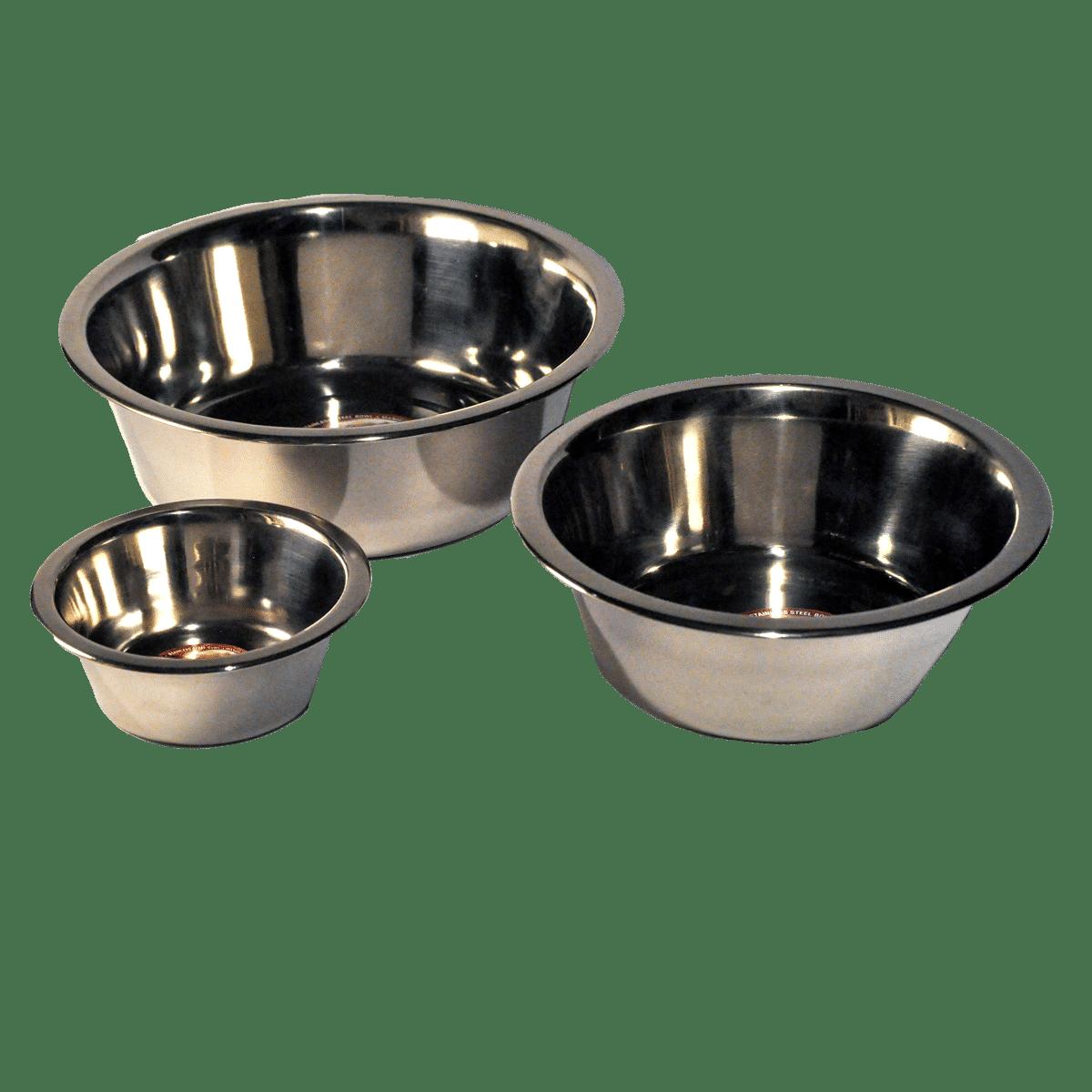 Rostfria hundskålar i olika storlekar