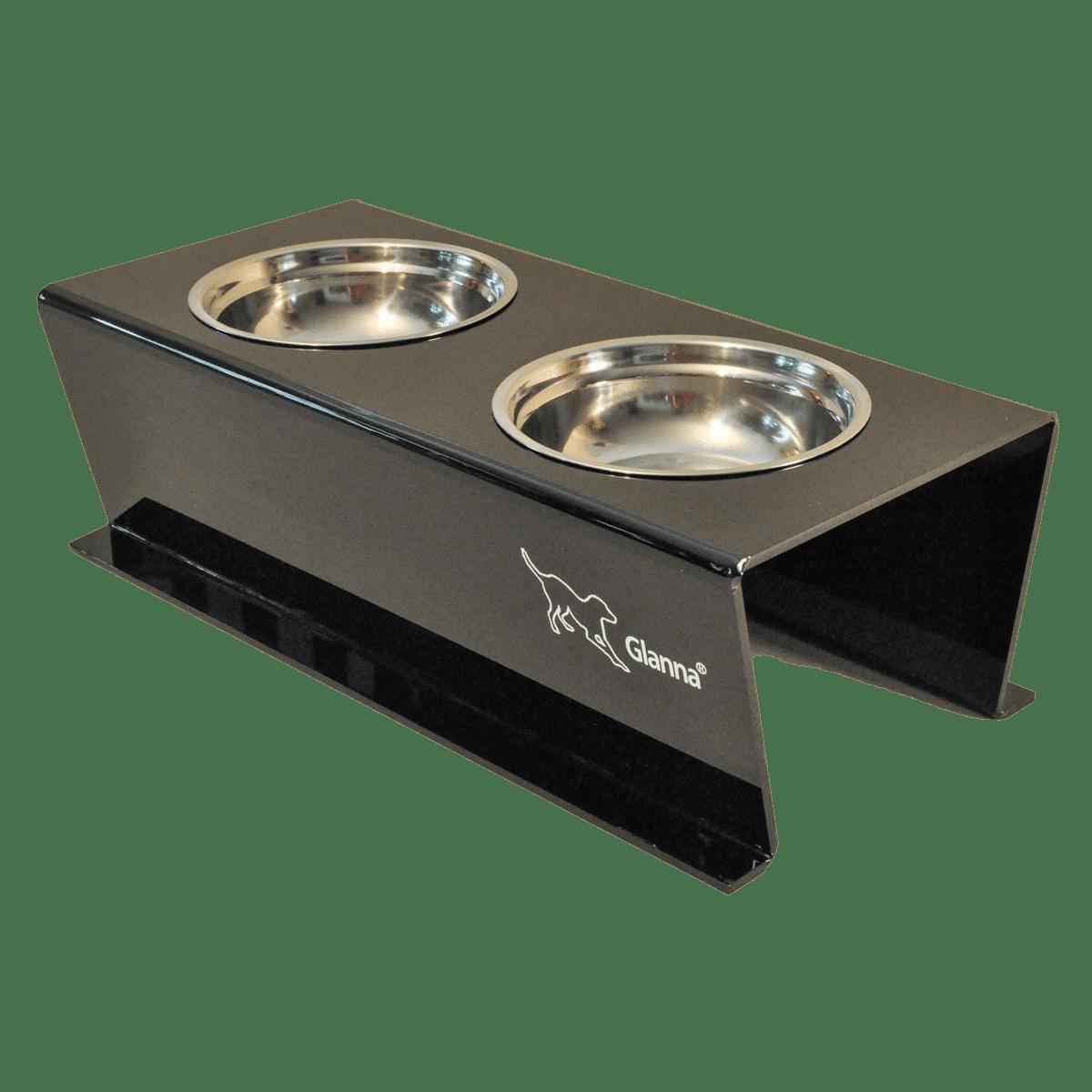 Matbar i svart plast till mellanstor hund
