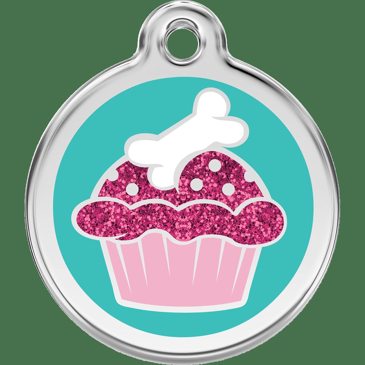 Gullig cupcake på kattens id bricka i rostfritt stål
