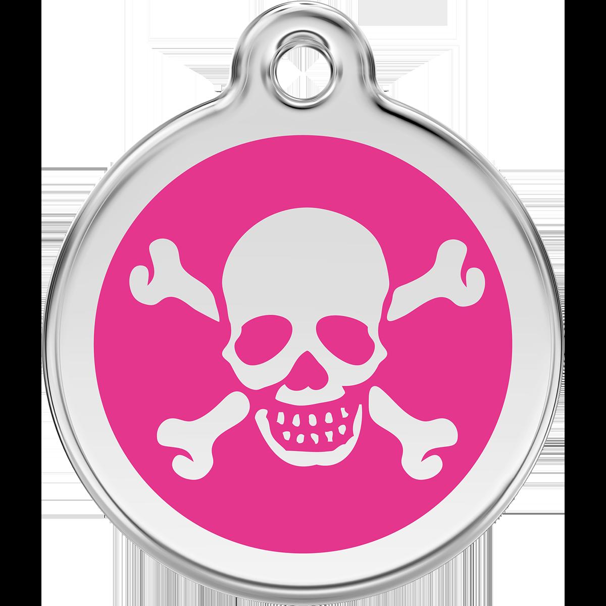 Id bricka i rosa med en döskalle till hunden eller katten