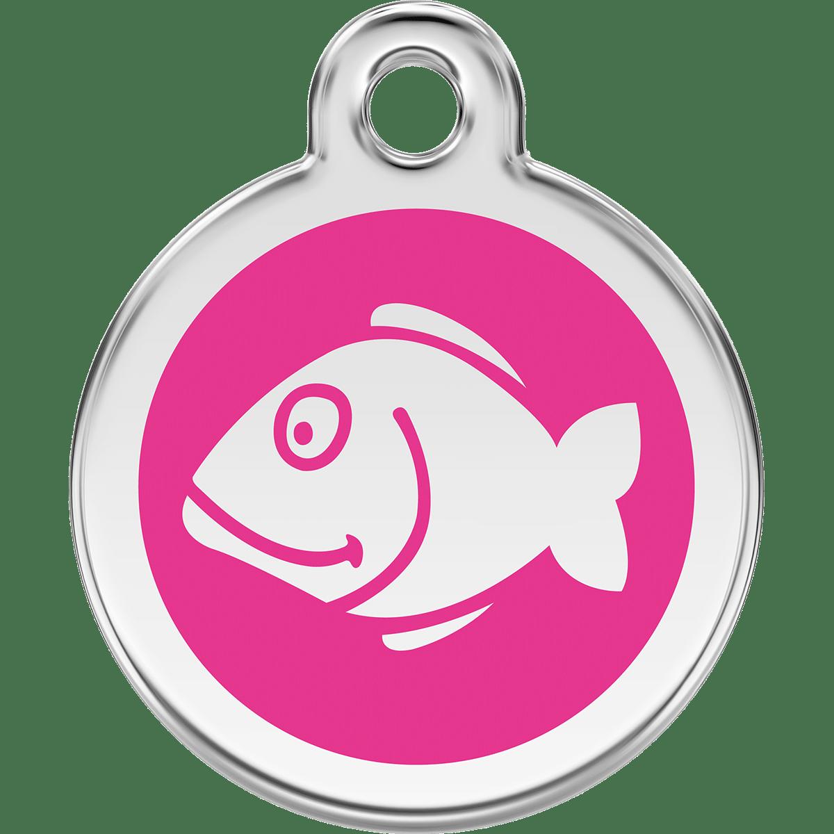 Kattbricka med gravyr- rosa med en fisk