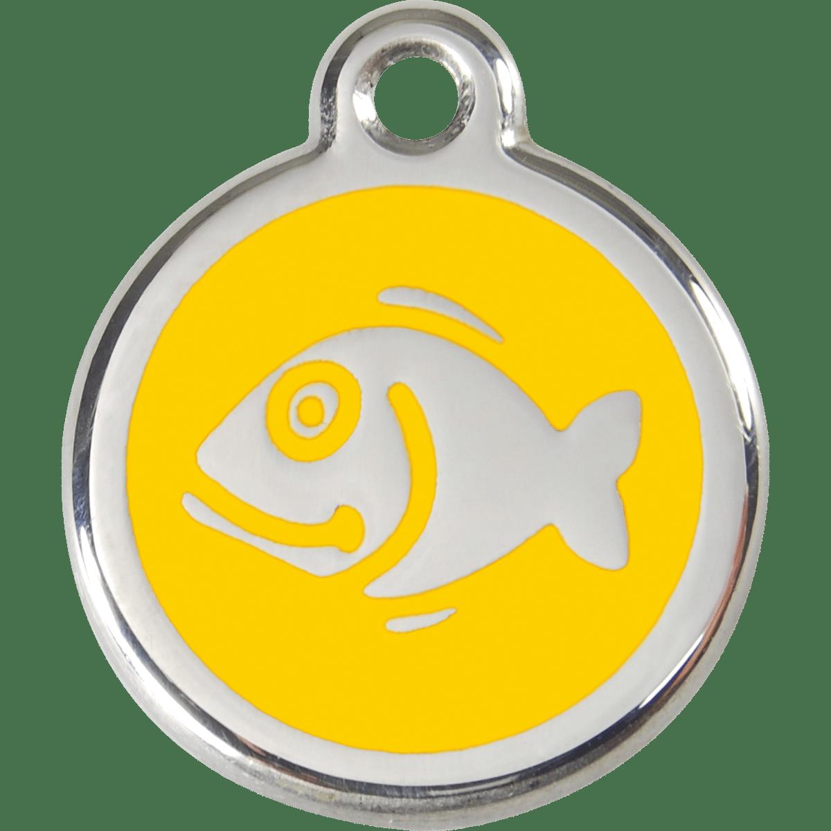 Fisk på gul id-bricka till katten