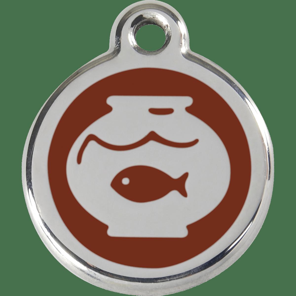Rolig id-bricka till katten med fisk i akvarium