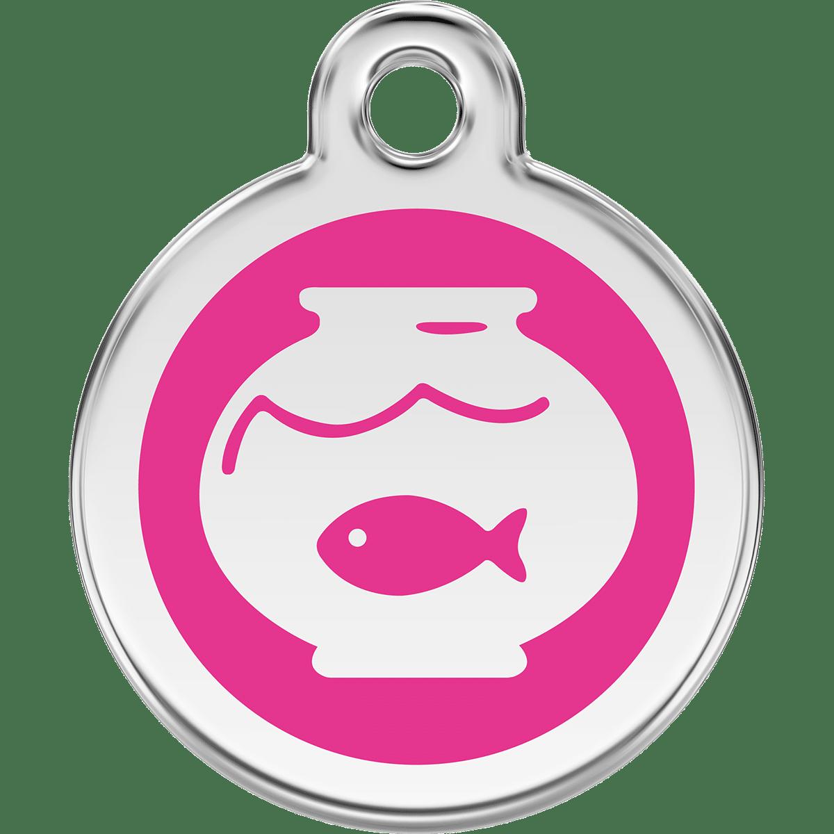Fisk i akvarium- rosa id bricka till katten