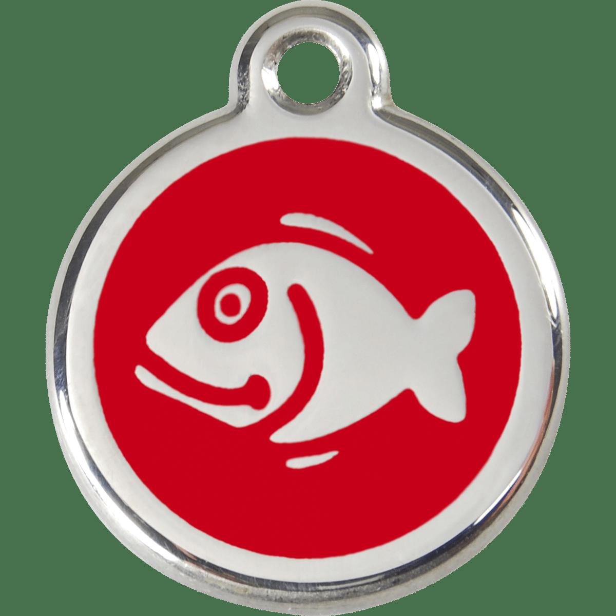 Bricka med telefonnummer till katten eller fiskelådan