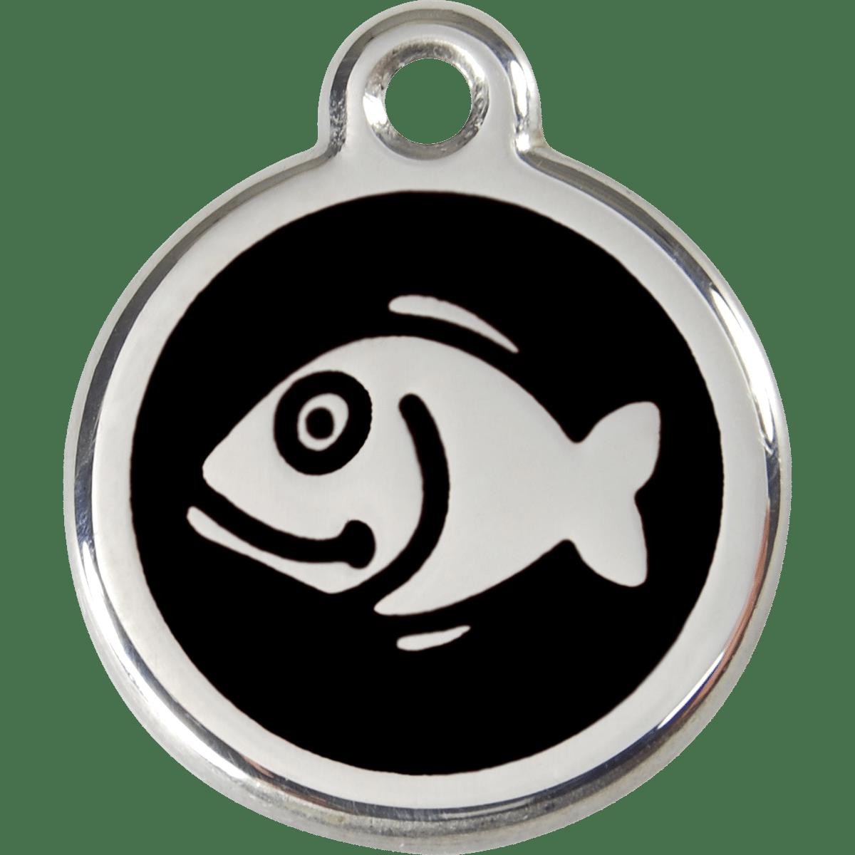 ID-bricka till katten med en fisk som motiv