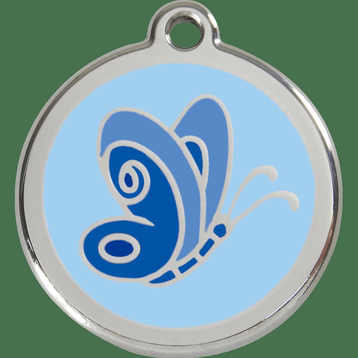 Fin id-bricka i ljusblått med en fjäril