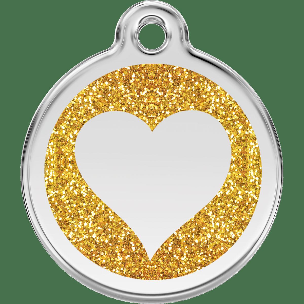 Glittrigt hjärta i guld till din hund eller katt
