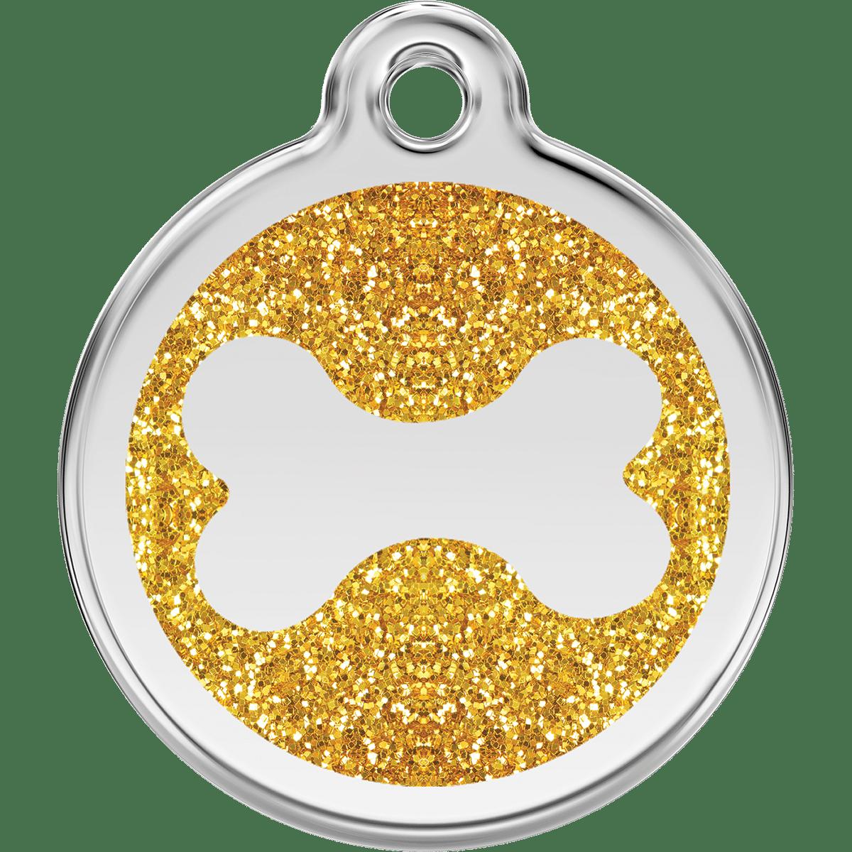 ID-bricka i glittrigt guld till din hund