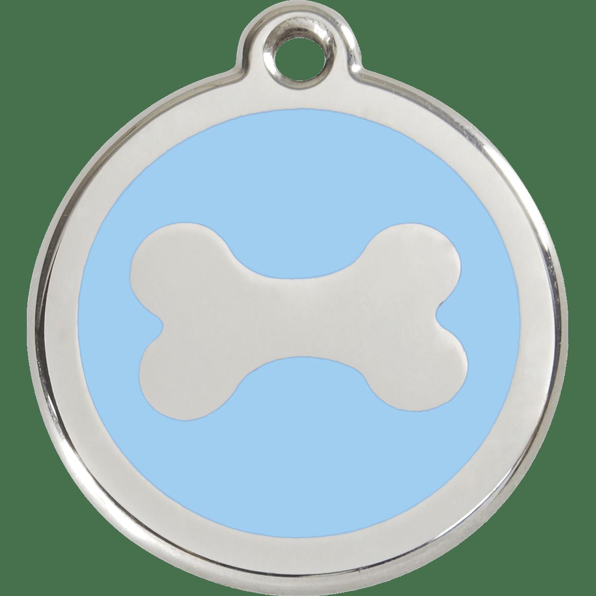 Hundens id-bricka i ljusblått