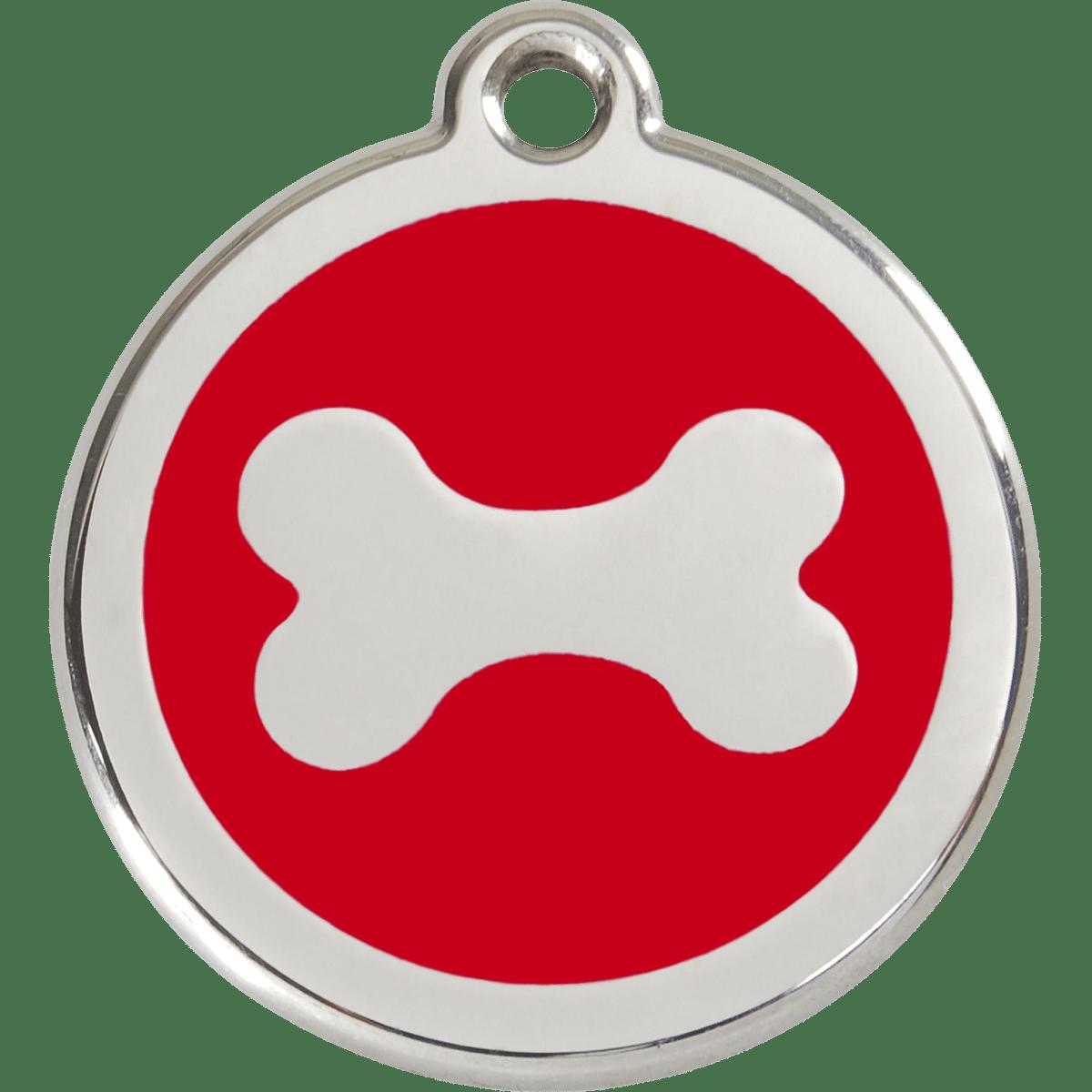 ID bricka i rostfritt stål med röd emalj
