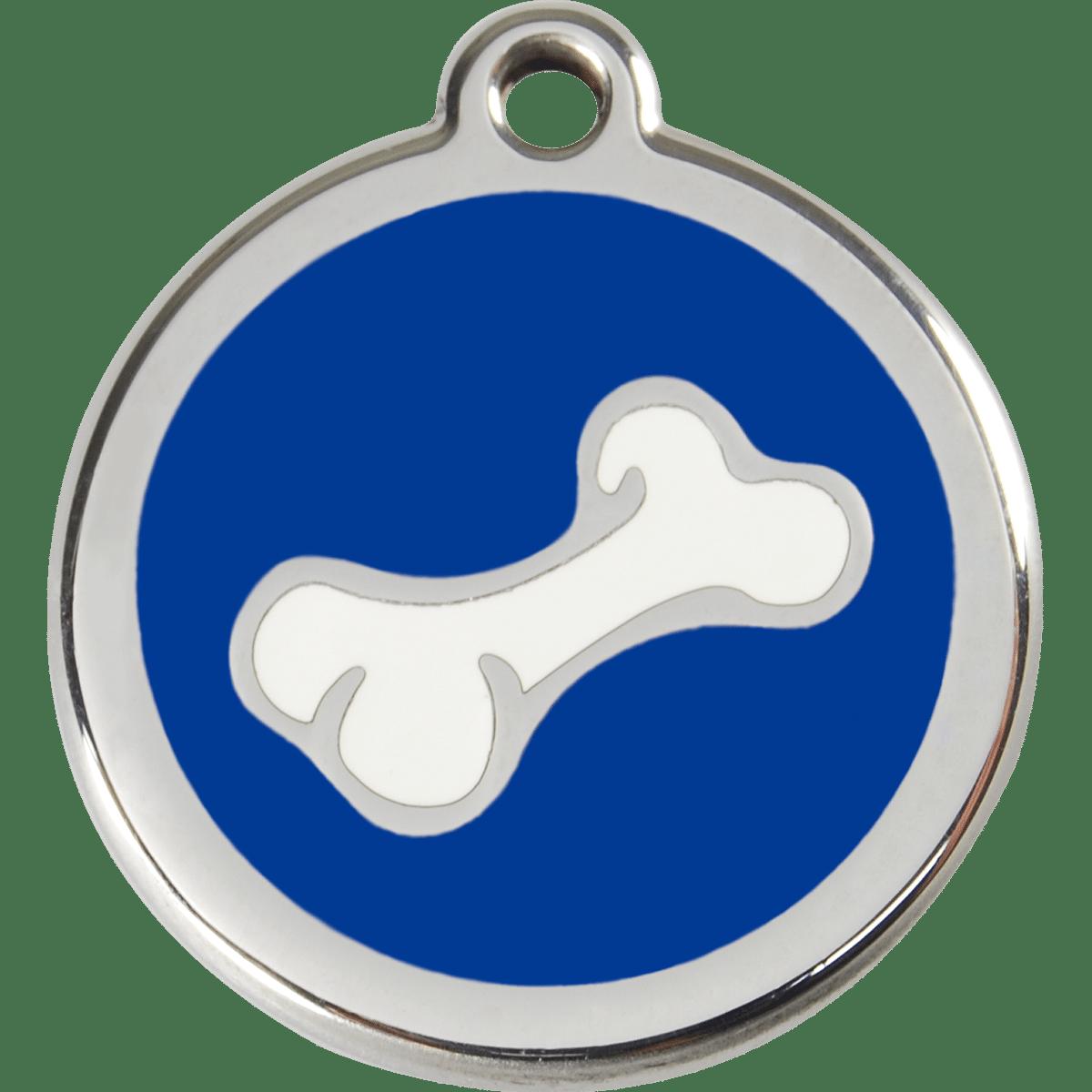 Blå id bricka med gravyr passar till hunden