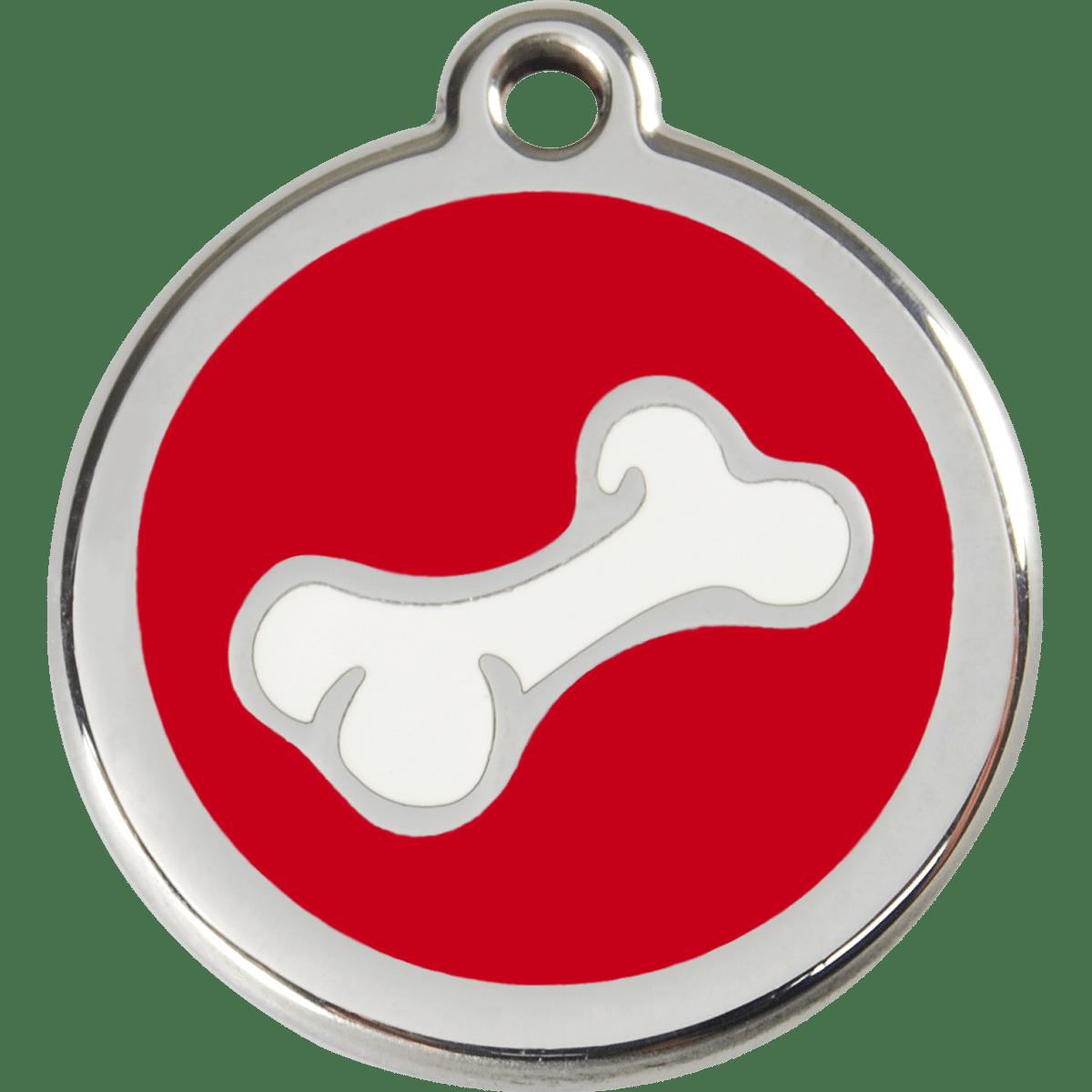 Röd id bricka till hund motiv hundben