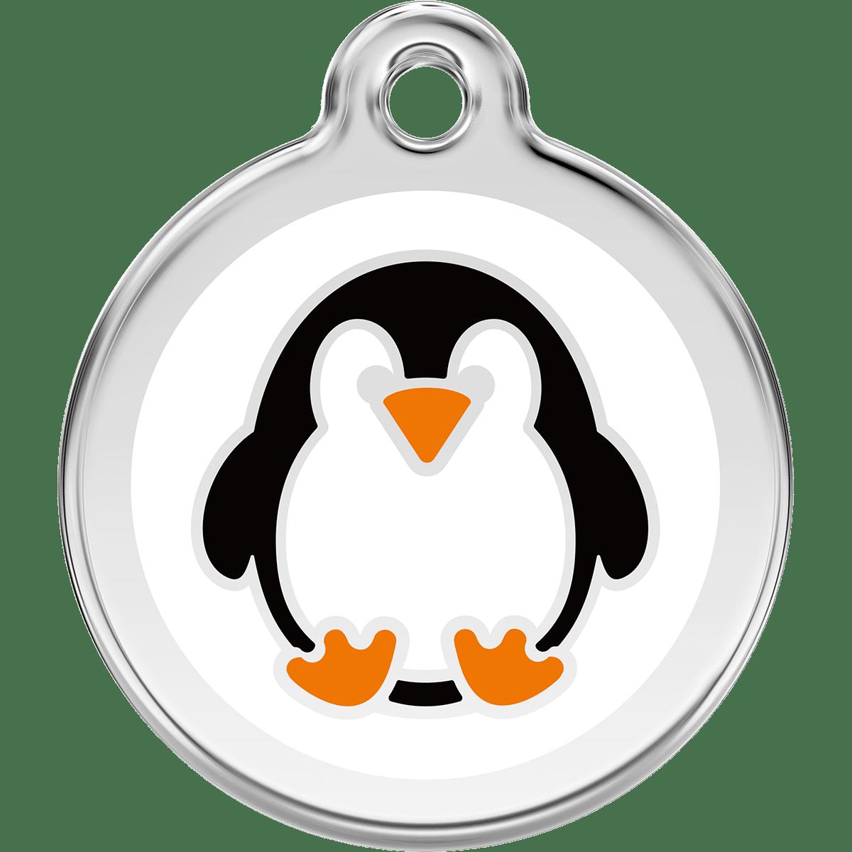 Gullig pingvin på namnbricka