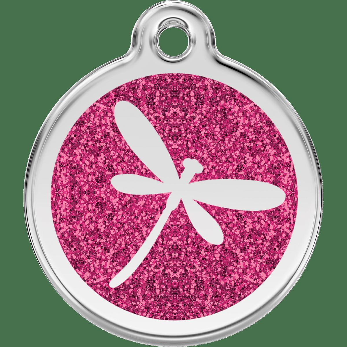 Glittrig namnbricka i rosa till hunden eller katten