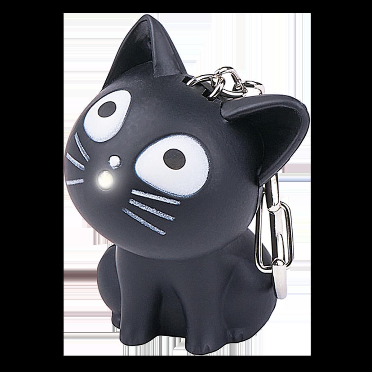 Katten på nyckelringen lyser dig fram till nyckelhålet