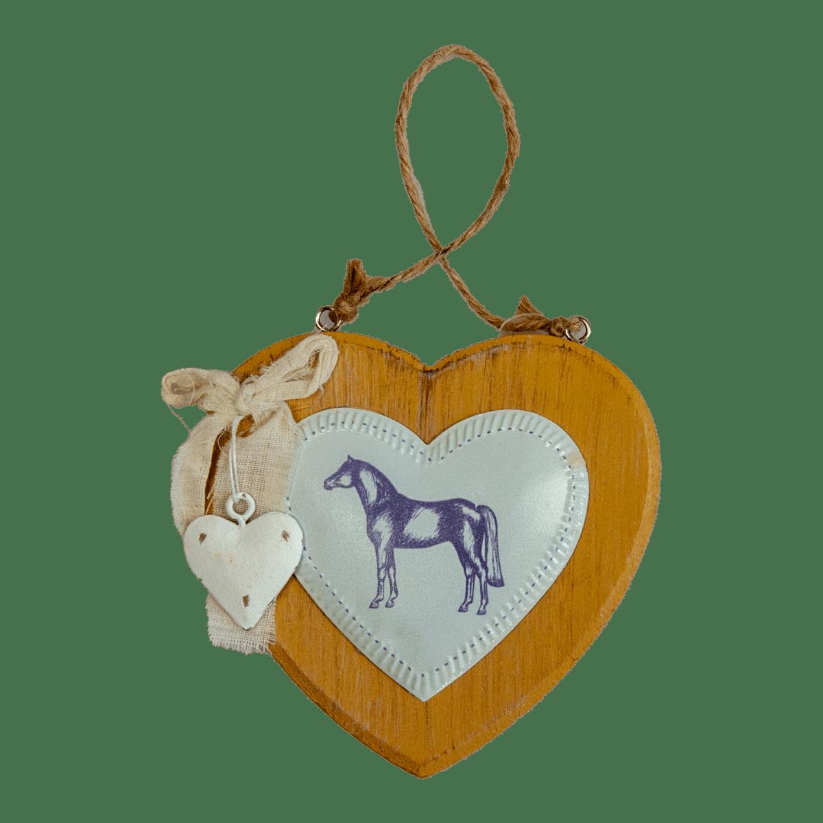 Dekorationshjärta i trä med en häst