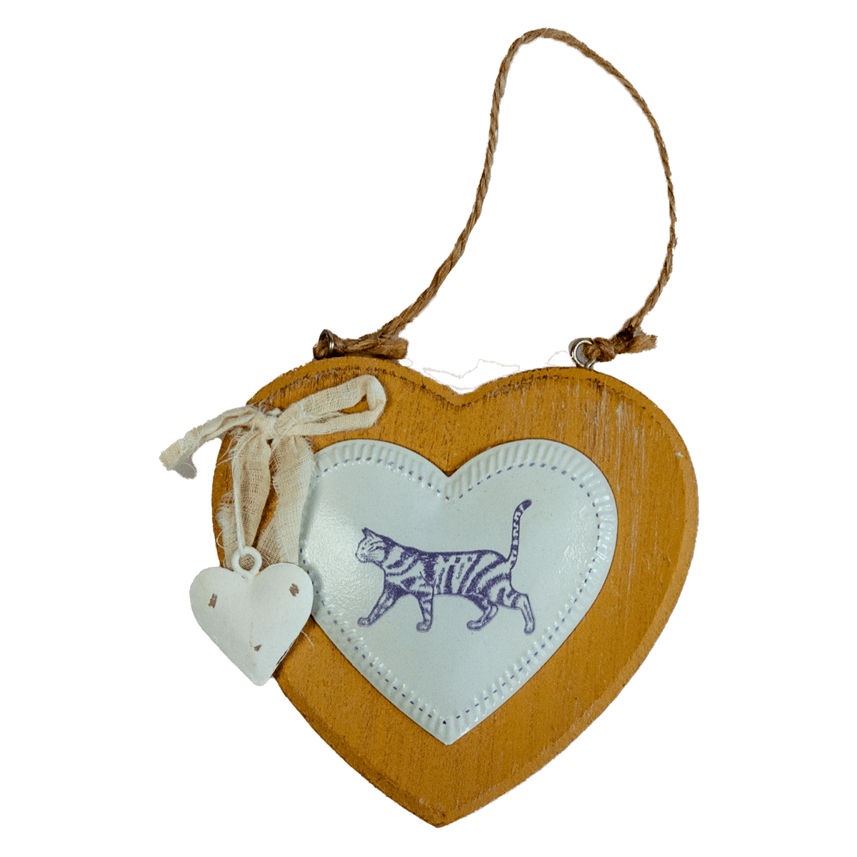 Dekorera hemmet med ett trähjärta med motiv på en katt