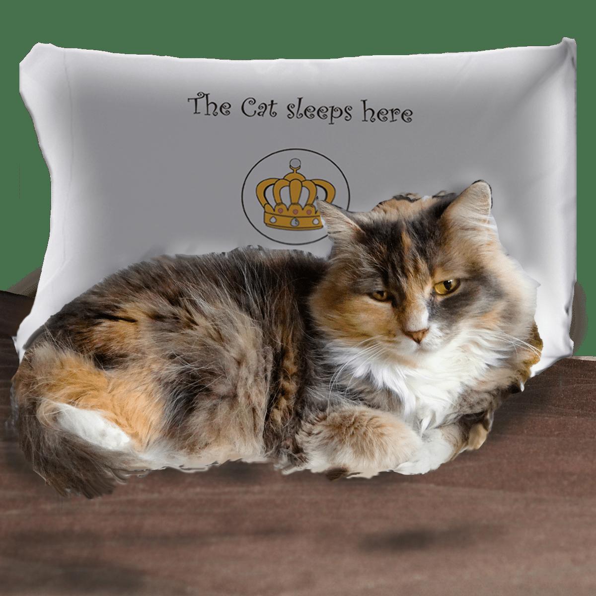 Roligt örngott med text för kattägaren