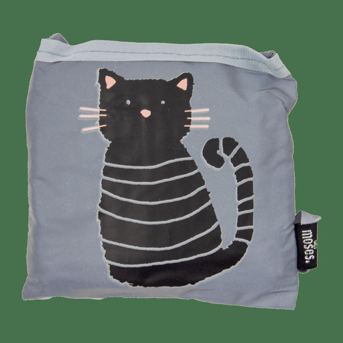 Shoppingkasse med katt och som är en reflex