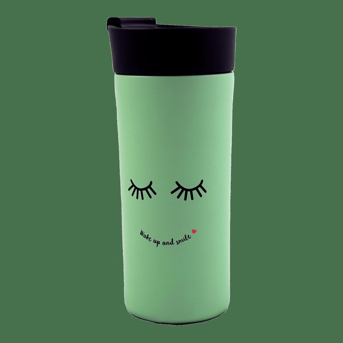 Termosmugg i rostfritt stål - mintgrön med ett ansikte