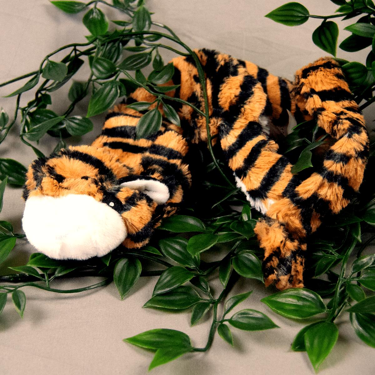 Lek med din hund- lång tiger i plysch med pip